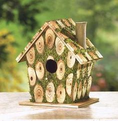 Moss Edged Knotted Birdhouse * Find similar products by clicking the image