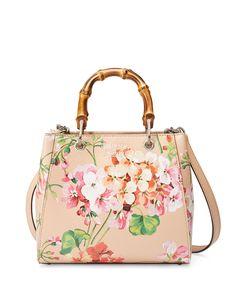 Gucci Bamboo Shopper Mini Blooms Crossbody Bag, Nude