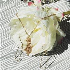 "Hand crafted in Texas, necklace and earring set 18"" long gold tassel necklace  and rectangle pretty dangly earrings sold together. Hand made in Texas by my friend. Very cute and great basic jewelry pieces to add to your wardrobe. KatieBeth Jewelry  Jewelry Necklaces"