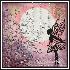 Just love this stamp from Hero Arts, Leafy Vines, made this fairy card with it, added some accents with my white Sharpie pen.