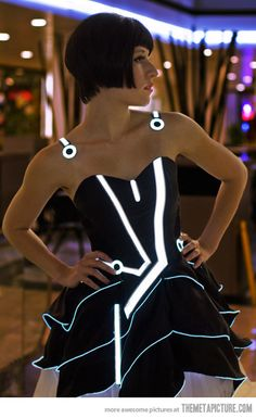 This probably makes me a mega geek but i love it!  Tron Prom Dress