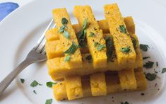 In this recipe, polenta is sliced into fries and baked in the oven until light, airy, and crisp. Baked Polenta, Polenta Fries, Polenta Recipes, Veggie Recipes, Whole Food Recipes, Side Recipes, Yummy Veggie, Yummy Food, Gluten Free Sides Dishes