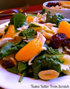 Spinach, Chicken, Bowtie Pasta Salad- One of my favorites with peanuts, craisins and water chestnuts and a light sweet teriyaki dressing that's only 3 ingredients!