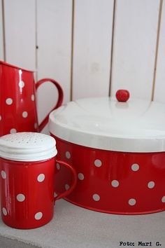Red and White polka dotted kitchen ware.