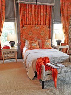 Master Bedroom Designed by Tobi Fairley at The Hamptons Designer Show House 2014 #interiors #decor #home #ideas #inspiration #orange #white #toile ##curtains #drapery #headboard #animal #print #rug #pillows #upholstery #geometric #wallpaper