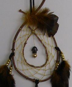 Gold & Dark Brown Evergreen Hoop Dream Catcher 7 by gipseegirl, $20.00
