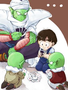 Piccolo & Gohan playing card with the Namekian children #DBZ