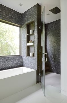 Dark mosaic tiles from Ann Sacks to create warmth in this modern white bathroom Bath Contemporary by Dunagan Diverio Design Group Modern Bathroom, Bathroom Inspiration Colors, Modern White Bathroom, Beautiful Bathrooms, Grey Bathrooms, Modern Bathrooms Interior, Bathroom Interior Design, Bathroom Renovations, Gray Bathroom Decor