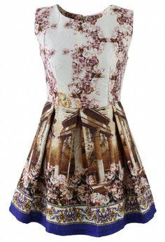 Retro Floral Print Jacquard Dress