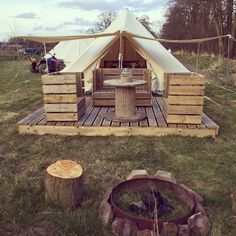 While this is from a Glamping site, I could see how these chairs and deck could be made portable enough to travel with to LARP events. - The Hideaway at Baxby Manor Canvas Tent, North East England, Bell Tent, Camping Accessories, North Yorkshire, Campsite, Larp, Lodges, Glamping