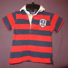 Size: 3T. Boy's striped shirt with the number 83 and a football on it. Collared with three buttons. Theme: Striped. Style: Short sleeve. Condition : Wash wear. Spot inside the collar near buttons. | eBay!