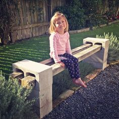 DIY Outdoor Bench Daddy finished our recycled bench seat!Daddy finished our recycled bench seat! Cinder Block Furniture, Cinder Block Bench, Fire Pit Furniture, Garden Furniture, Cinder Blocks, Furniture Decor, Antique Furniture, Cinder Block Fire Pit, Outdoor Furniture