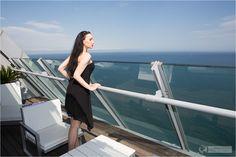 Elegant evening dress with high heels at the balcony - W Hotel Barcelona - #dress #minidress #barcelona #whotel