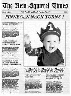 Newsies birthday invite or baby announcement idea vernon invitation idea stopboris Images