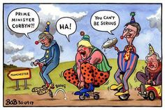 Mining a theme.  This one appears in October 2017 as a series that mines the clown theme for the UK government.  It was prescient as one week later, the first opinion poll showed opposition leader, Jeremy Corbyn in the lead for the first time over Theresa May