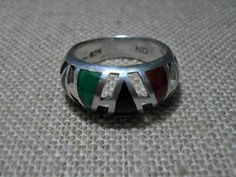 Sterling Silver Plique-a-jour Ring Vintage 925 Ring Size 8