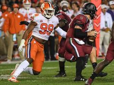 Clemson defensive end Clelin Ferrell (99) sacks South Carolina quarterback Jake Bentley(19) during the second quarter in Williams-Brice Stadium in Columbia on Saturday.