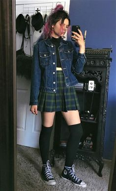 41 Grunge Outfit Ideas for this Spring : Denim jacket, black crop top, plaid skirt, long socks & converse shoes by athousandchapters Fashion 90s, Trend Fashion, Korean Fashion, Fashion Outfits, Fashion Styles, Fashion Ideas, Cheap Fashion, Fashion Spring, Work Fashion