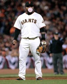 Giants third baseman Pablo Sandoval spends some time between pitches working on the perfect bubble.
