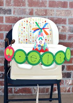 high chair decorations for a Very Hungry Caterpillar party!
