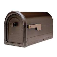 Architectural Mailboxes Roxbury Post Mount Mailbox Rubbed Bronze with Premium Cast Aluminum Knob and Champagne Flag-7900-5RZ-CG-10 - The Home Depot
