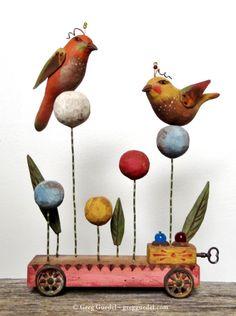 Forgotten Toys ~ folk art assemblage by Greg Guedel. Carved wood and vintage finds.  https://www.gregguedel.com