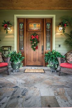 nice idea for a wreath suitable for a Craftsman style door with windows in the upper portion.  Home for the Holidays - Orlando Home and Garden - October 2014