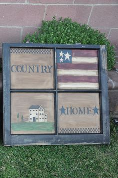 Hand painted window with primitive style by jacklyn Primitive Windows, Primitive Homes, Primitive Crafts, Country Primitive, Primitive Signs, Primitive Christmas, Christmas Decor, Old Window Frames, Window Art