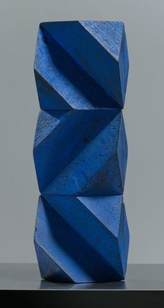 Available for sale from Bentley Gallery, Peter Millett, Blue Post Painted wood, 23 × 8 × 7 in giacometti Geometric Sculpture, Abstract Sculpture, Wood Sculpture, Abstract Art, Art Sculptures, Contemporary Sculpture, Contemporary Art, 3d Cnc, Inspiration Art