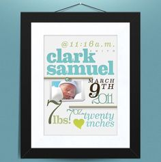 Personalized Baby Announcements from Ink & Lee Print Parlour on Etsy