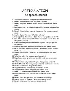 Articulation Hmwk ideas - this could also be adapted for a fun Artic Scattergories game Articulation Therapy, Articulation Activities, Speech Therapy Activities, Therapy Worksheets, Language Activities, Speech Language Therapy, Speech Language Pathology, Speech And Language, Speech Delay