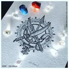 Posseidon Tattoo, Orishas Yoruba, Art Logo, String Art, Tattoo Inspiration, Blackwork, Small Tattoos, Line Art, Maya