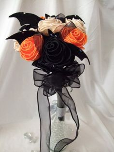 """Till Death Do Us Part"" Orange Roses, White Roses, Black Roses & Bats Wedding Bouquet: Halloween :) <3"