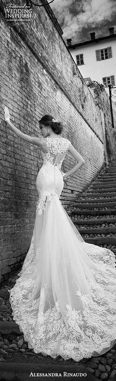 alessandra rinaudo 2015 shannon stunning mermaid wedding dress illusion back lace train #gorgeous #weddingdresses #weddings
