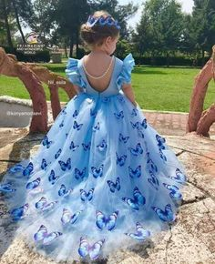 This a beautiful butterfly dress. It's a wonderful version of the Cinderella ball gown. Gowns For Girls, Little Girl Dresses, Girls Dresses, Dresses Dresses, Fall Dresses, Long Dresses, Dress Long, Flower Girls, Flower Girl Dresses