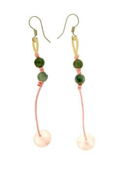 Dangle charmingly with this jade setting on top and rose quartz beads earrings