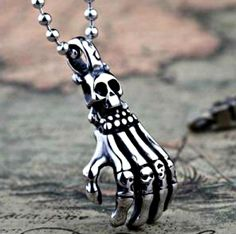 SKULL & HAND Hypo-Allergenic Stainless Steel PENDANT With FREE Chain & Gift Box  #Pendant