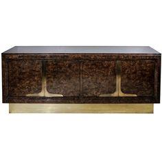 1stdibs | Mastercraft Burled Wood & Brass Sideboard/Dresser