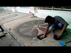 Pebble stone installation. - YouTube
