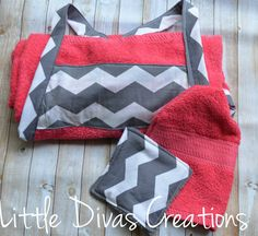 Baby girl bath towel apron gift set by LittleDivasCreations