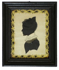 "WONDERFUL SILHOUETTE. Early 19th century hollow-cut and watercolor silhouette of a woman. The silhouetted form of the face and body is hollow cut over black paper with great intricate accents to the hair and collar of the dress painted onto the top paper surface. Inside frame on glass is gold and black eglomise all in a black wood frame. Measures total 4.5"" x 5.25"". Circa 1830"