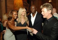 Iman, Heidi Klum, Seal and David Bowie (Photo by Dimitrios Kambouris/WireImage) via @AOL_Lifestyle Read more: http://www.aol.com/article/2016/01/11/david-bowie-and-iman-had-a-storybook-romance-for-25-years/21295537/?a_dgi=aolshare_pinterest#fullscreen