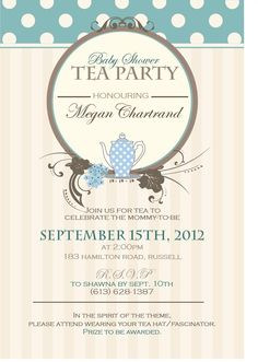 Chic Teacup In Blue Baby Shower Tea Party Card | Blue, Babies And Zazzle  Invitations