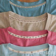 T-Shirt Twill Tape Neckline Tutorial - adding twill tape to back neckline to cover serger (overlocker) stitches.