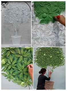 home accents kitchen Flachrelief im Detail. Mural Art, Wall Murals, Inspiration Wand, Plaster Art, Wall Sculptures, Paint Designs, Clay Art, Diy Wall, Wall Design