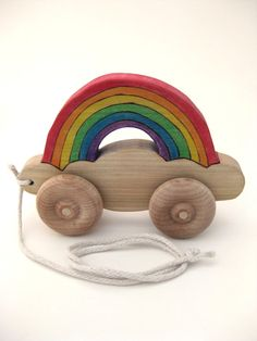 Wooden Pull Toy - Rainbows Follow Me Wherever I Go Waldorf Toy - Handmade Wood Toy