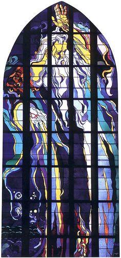 """Stanislaw Wyspianski - """"God the Father - Creating of The World"""". Stained glass in the Franciscan Basilica in Krakow.    Stanisław Wyspiański - """"Bóg Ojciec -Stań się!"""" Witraż w oknie Bazyliki Franciszkanów w Krakowie."""