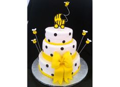 "Bumble Bee Baby Shower Cake - Bumble Bee Cake all fondant including the bee's. 10"", 8"", 6""."