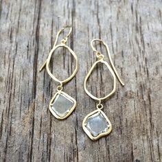 Perfectly imperfect. Diamond slice teardrop earring with open freeforms, handcrafted in Austin, TX.