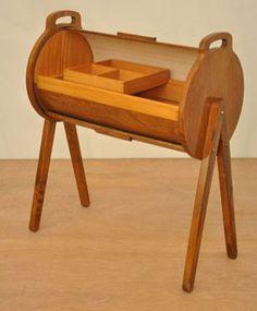 1960s Danish rolltop sewing box/B